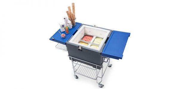 IFI Gelato CoolBox pans open met kar - schuin