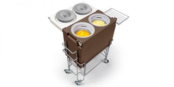 IFI Gelato CoolBox tubs open met kar - schuin